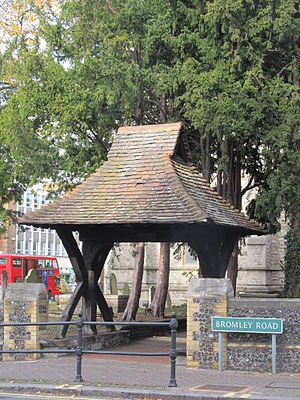 Lychgate - Image: Lych gate, St George's church Beckenham