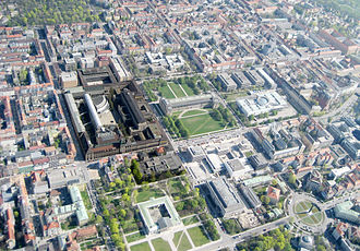 Technical University of Munich - main campus (only small dark brown building area) aerial view in Munich downtown