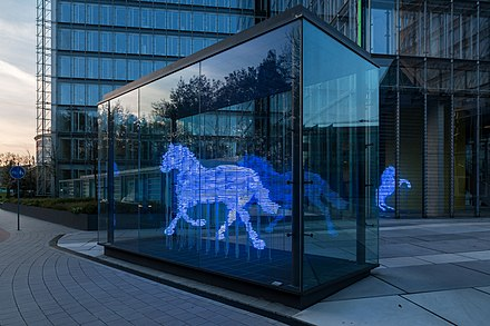 Zwei Pferde fur Munster (Two horses for Munster), neon sculpture by Stephan Huber (2002). Munster, LVM, Skulptur -Zwei Pferde- -- 2016 -- 2335.jpg