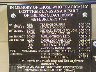 M62 coach bombing - Plaque unveiled in Oldham in 2010 in memory of the victims of the bombing