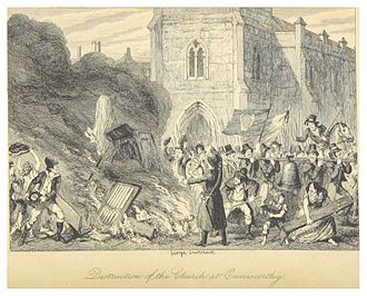 Enniscorthy -  Destruction of the Church of Enniscorthy  - illustrated by George Cruikshank (1845)