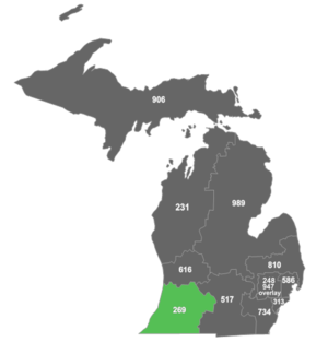 Area code 269 - Map of area code 269 in Michigan.
