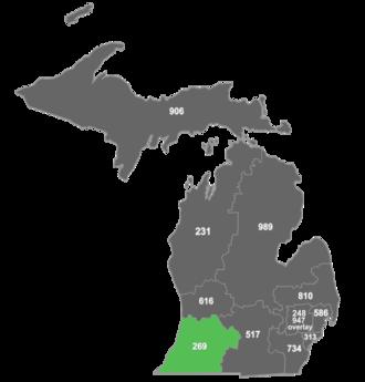 Area code 269 - Map of area code 269 in Michigan.