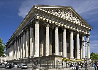 Church (building) - La Madeleine, a Neoclassical, Roman Catholic church in Paris, France.