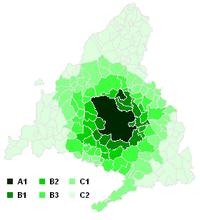 Mapa de la Comunidad de Madrid señalando las áreas del transporte urbano en Madrid por municipios.