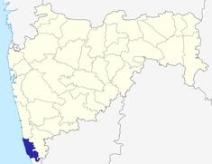 మహారాష్ట్రలో సింధుదుర్గ్ జిల్లా యొక్క స్థానం