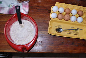 Quick bread - Pancake batter is made using the stirring method.