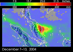 Geography of Malaysia - Peninsular Malaysia Precipitation Map on December 2004 showing heavy precipitation on the east coast, causing floods there.