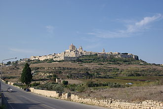 Mdina - View of Mdina from the countryside below