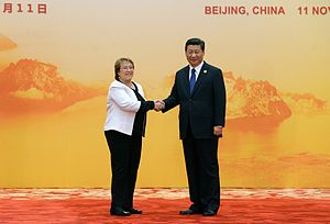 Chile–China relations - Chile President Michelle Bachelet and China President Xi Jinping in Beijing.