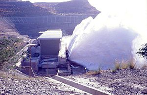 Mangla Dam - A view of turbine relief valve operation at Mangla Power House