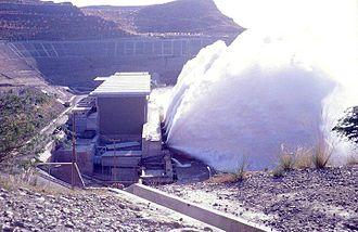 Mangla Dam - A view of turbine relief valve operation at Mangla Power House