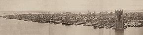 Ansicht von Manhattan im Jahr 1876 mit der im Bau befindlichen Brooklyn Bridge Bridge