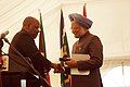 Manmohan Singh being presented with an appreciation medal by the Executive Mayor, Mr. Amos Masondo at the inauguration of the permanent exhibition - Gandhi A Prisoner of Conscience, at Johannesburg, South Africa.jpg