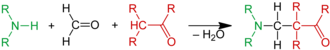 Mannich reaction - Scheme 1. Ammonia or an amine reacts with formaldehyde and an alpha acidic proton of a carbonyl compound to a beta amino carbonyl compound