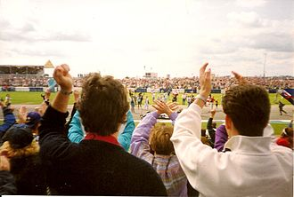 1992 British Grand Prix - Fans invading the track at Copse Corner following Nigel Mansell's victory.
