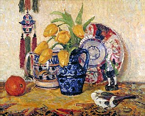 James Bolivar Manson - Still Life: Tulips in a Blue Jug by J.B. Manson, c.1912