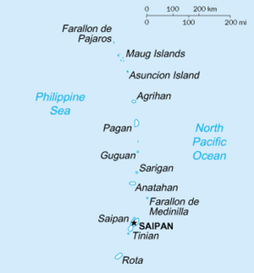 Map of the Mariana Islands (excluding Guam)