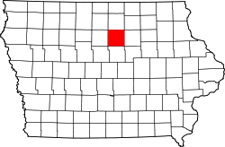 map of Iowa highlighting Franklin County