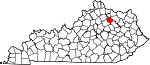 State map highlighting Nicholas County
