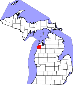 Map of Michigan highlighting Benzie County.svg