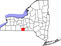 Map of New York highlighting Chemung County