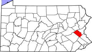 Map of Pennsylvania highlighting Lehigh County