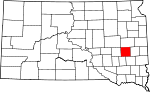 State map highlighting Miner County
