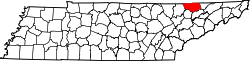map of Tennessee highlighting Claiborne County