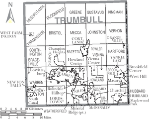 Trumbull County, Ohio - Map of Trumbull County, Ohio with municipal and township labels