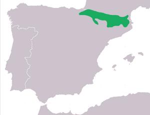 Pyrenean brook salamander - Image: Mapa Calotriton asper