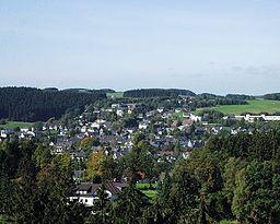 Marienheide från utsiktstornet på Eberg.
