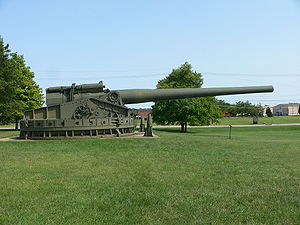 "16""/50 caliber M1919 gun - 16 in Mark III coastal defense gun on a proof mount at Aberdeen Proving Ground, Maryland."