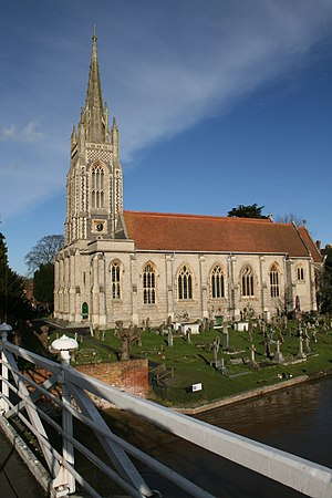 Marlow, Buckinghamshire - All Saints Church from Marlow suspension bridge