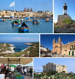 From top: Harbour, Delimara Lighthouse, Delimara coastline, Parish Church, street market, Fort San Lucian
