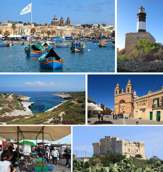Marsaxlokk - From top: Harbour, Delimara Lighthouse, Delimara coastline, Parish Church, street market, Fort San Lucian