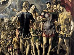 Detalle del Martirio de san Mauricio (1580-82). Encargado por Felipe II para el Monasterio de El Escorial, el cuadro no gustó al monarca.