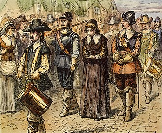 Massachusetts Bay Colony - Quaker Mary Dyer led to execution on Boston Common, June 1, 1660, by an unknown 19th century artist