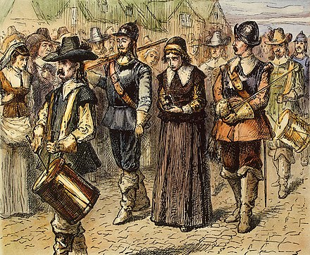 Quaker Mary Dyer led to execution on Boston Common, 1 June 1660, by an unknown 19th century artist Mary dyer being led.jpg