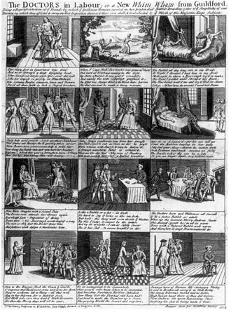 Mary Toft - A contemporary popular broadsheet satirised St. André, showing him dressed as a court jester.