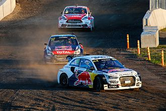 2015 FIA World Rallycross Championship - Mattias Ekström leads Timmy Hansen and Reinis Nitišs at the 2015 World RX of Canada