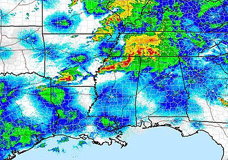 NOAA Doppler Radar image of storms after the tornadoes hit.