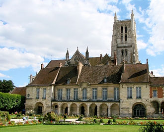 Meaux - The episcopal palace (bishop's palace). Behind the palace can be seen the Meaux Cathedral