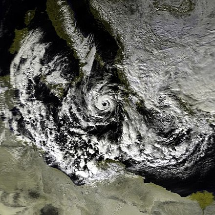 "The 1995 ""medicane"" at 1015 UTC on 15 January, shortly after tropical cyclogenesis Mediterranean Cyclone 15 jan 1995 1015Z.jpg"