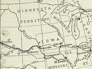 Ezra Meeker - The eastern half of Meeker's migration, as far as Fort Laramie