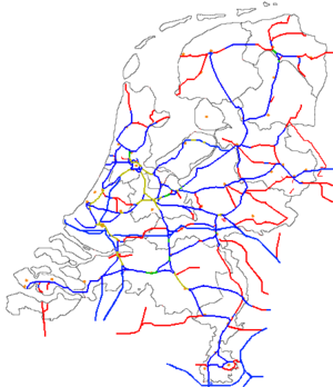 Train routes in the Netherlands - Railway network. Number of tracks: 1=red, 2=blue, 3=green, 4=yellow.