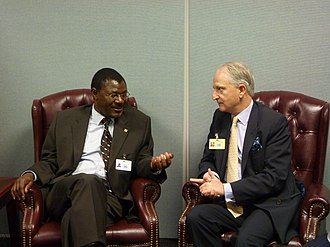 Moses Wetangula - British Minister for Africa Henry Bellingham met Kenyan Foreign Minister Moses Wetangula on 21 September 2011 in New York City.