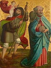 Linker Flügel des sog. Pretschlaipfer-Triptychons: Hll. Christophorus und Jakobus Major (Innenseite); Verkündigung an Maria (Außenseite)
