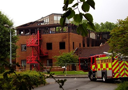 Borough council offices two days after the fire in 2008 Melton Borough Council offices from the rear after the fire - geograph.org.uk - 828926.jpg