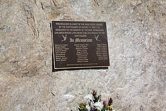 Quake Lake - Memorial for the victims from the 1959 earthquake at the Earthquake Lake Visitor Center